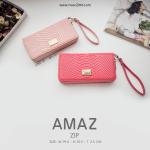 กระเป๋าสตางค์ ใบยาว ซิปรอบ รุ่น AMAZ ZIP สีชมพูเข้ม