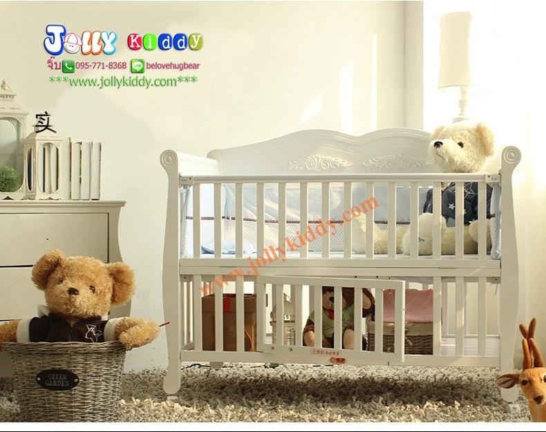 TP21045 (WD3) เตียงไม้สีขาว premium grade สำหรับเด็ก มัลติฟังชั่น สไตล์ยุโรป สินค้าคุณภาพ