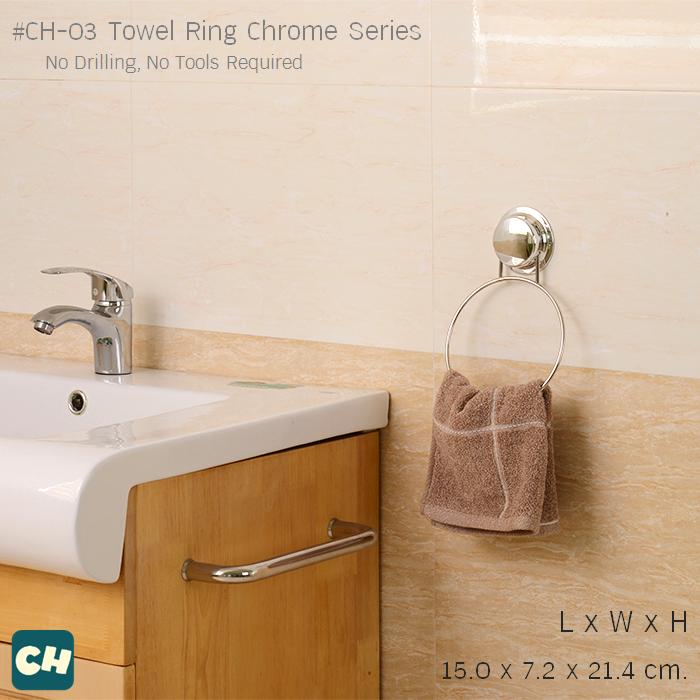CH-03 ห่วงแขวนผ้า รุ่น Chrome Series ไม่ต้องเจาะผนัง