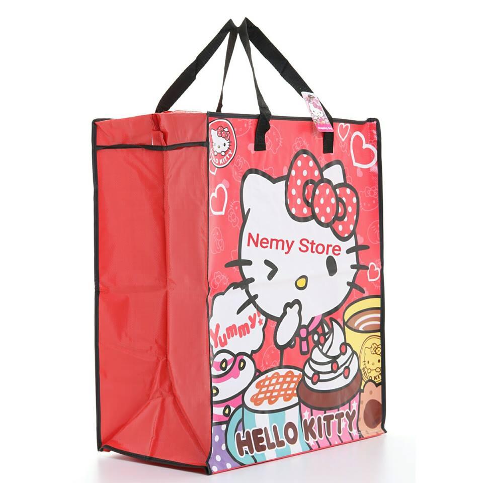 Shopping Bag กระเป๋าสปันบอลลายการ์ตูนดิสนีย์ คิตตี้ Disney Hello Kitty