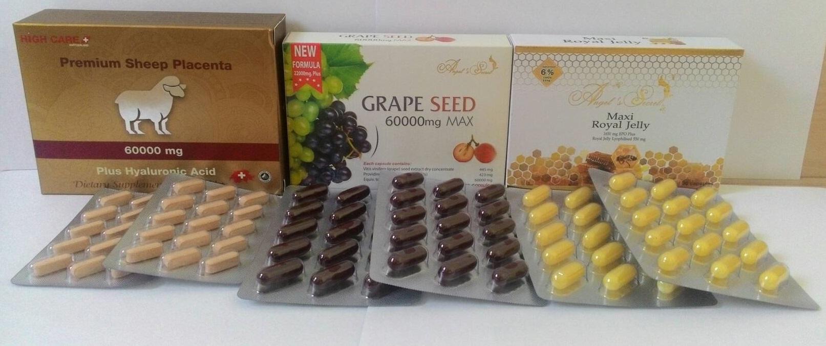 รกแกะ60,000mg. 1 กล่อง 120 เม็ด + สารสกัดเมล็ดองุ่นแองเจิลซีเครท 6,000 mg.120 เม็ด +นมผึ้งแองเจิลซีเครท 120 เม็ด