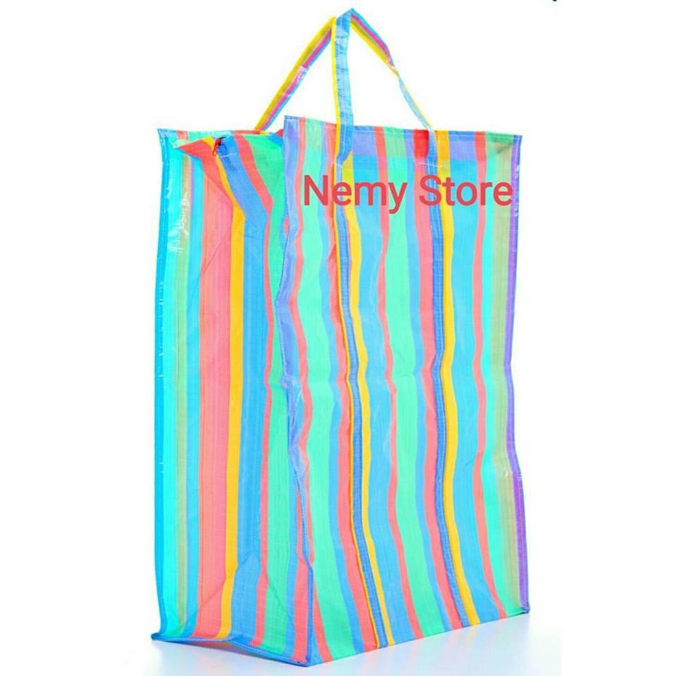 ถุงสายรุ้ง กระเป๋ากระสอบ ขนาด34*42 ซม. ราคาส่งใบละ 45 บาท