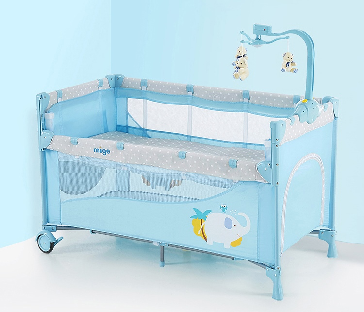 B10101 Playpen เตียงนอนเด็ก แบบเปิดด้านข้างได้ สินค้าใหม่นำเข้าพร้อมชั้นวางที่เปลี่ยนผ้าอ้อม
