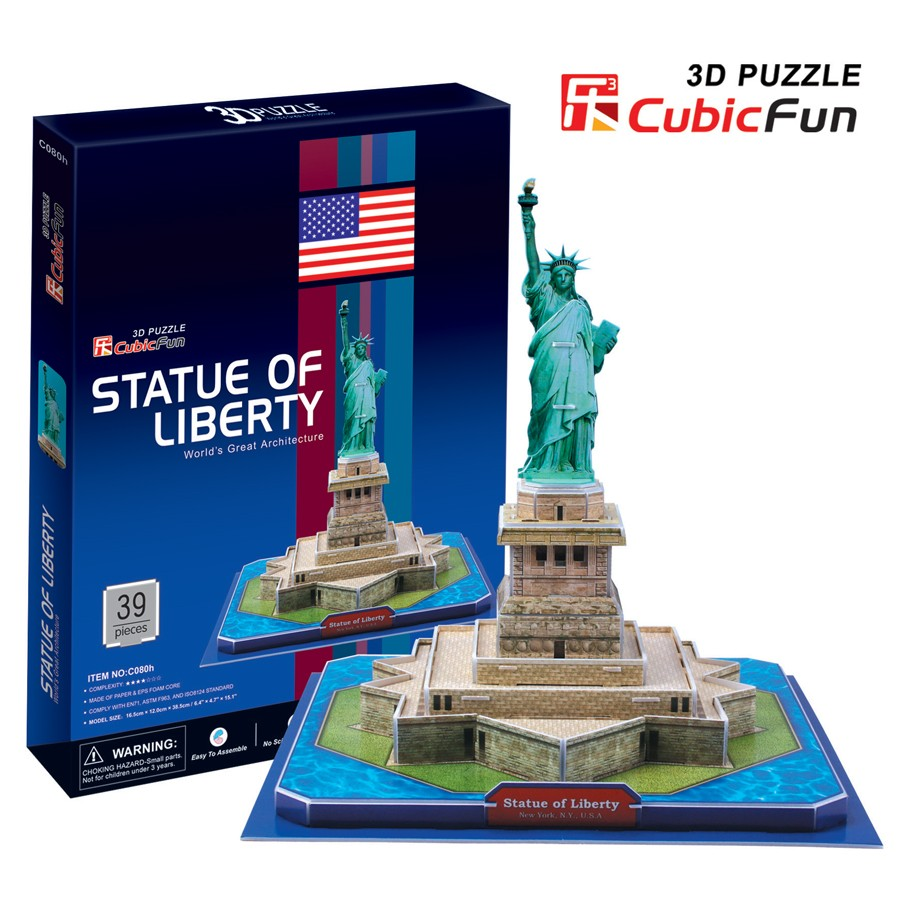 CubicFun Statue of Liberty(U.S.A) Total: 39 pcs Model Size: 26*26*23 cm