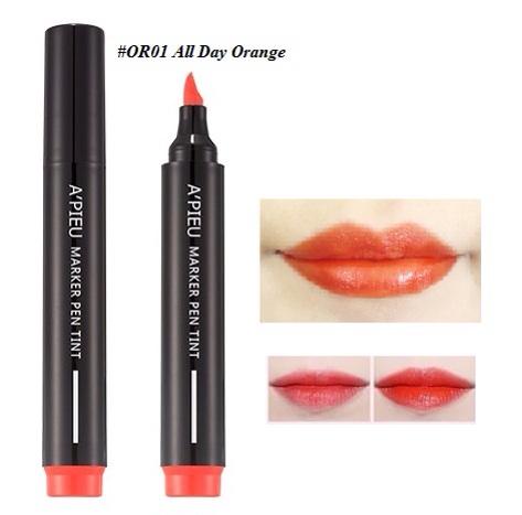 ++พร้อมส่ง++APIEU Marker Pen Tint 4.5g สี OR01 All day orange ลิปทิ้นท์ หัวปากกา เขียนง่าย สีสวย ติดทนนาน ไม่เลอะ