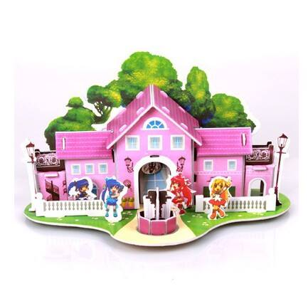 Happy Girl Castle HousePuzzleโมเดลตัวต่อกระดาษโฟมจิ๊กซอร์ 3มิติ รูปบ้าน39บาท