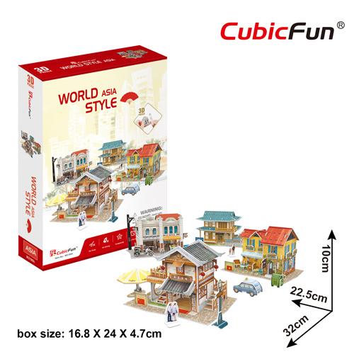 World Style Series 3D Asia Size: 32 x 22.5 x 10 cm จำนวน 225 ชิ้น Cubic Fun Thailand 3D Shop Puzzle