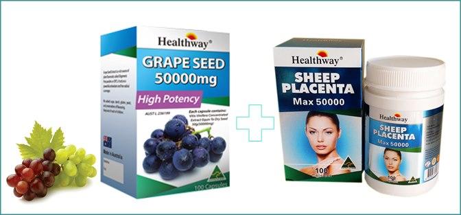 รกแกะ Healthway 50,000 mg.1 ปุก 100 เม็ด +Healthway Grapeseed 50,000 mg. 1ปุก 100 เม็ด