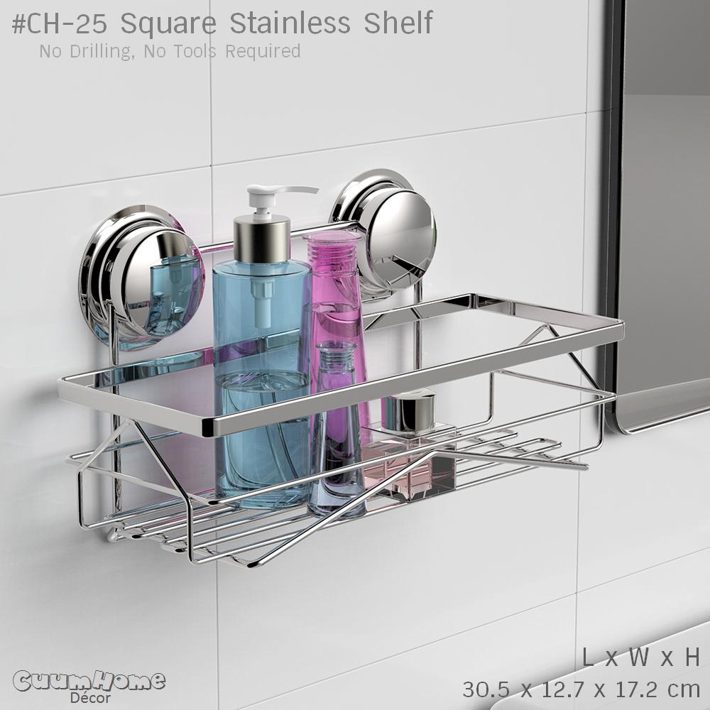 CH-25 ชั้นวางสแตนเลส สี่เหลี่ยม ไม่ต้องเจาะผนัง - Square Stainless Shelf