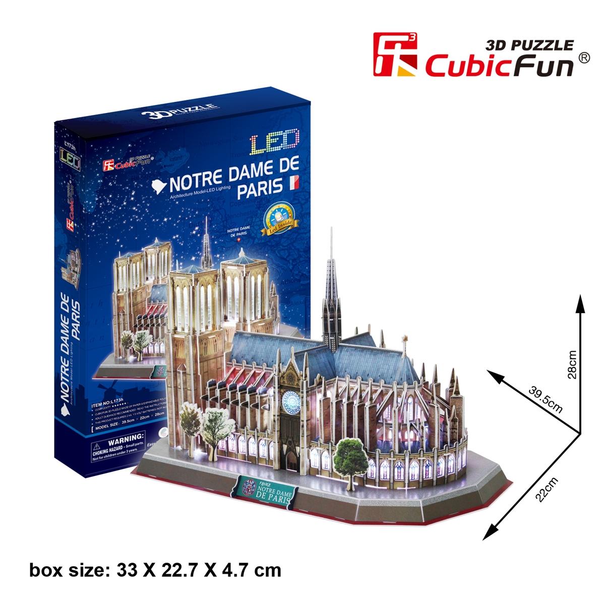 Notre Dame De Paris CubicFun L173h 3D Puzzle 149 Pieces