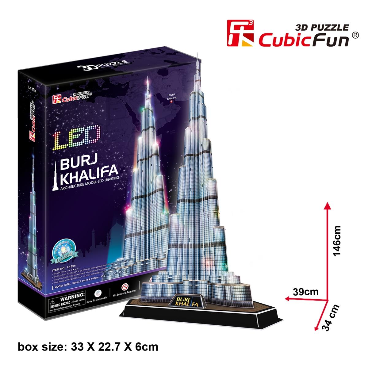 Burj Khalifa CubicFun 3D Puzzle 136 Pieces Size 34*39*146 cm.