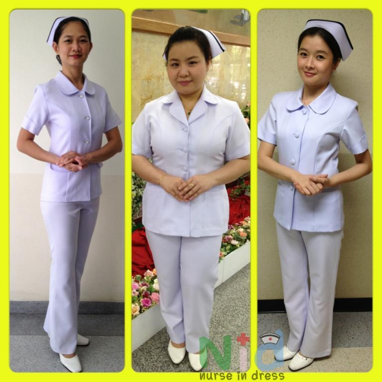 ชุดพยาบาลสำเร็จรูป เสื้อเชิ๊ต แขนสั้น พร้อม กางเกง