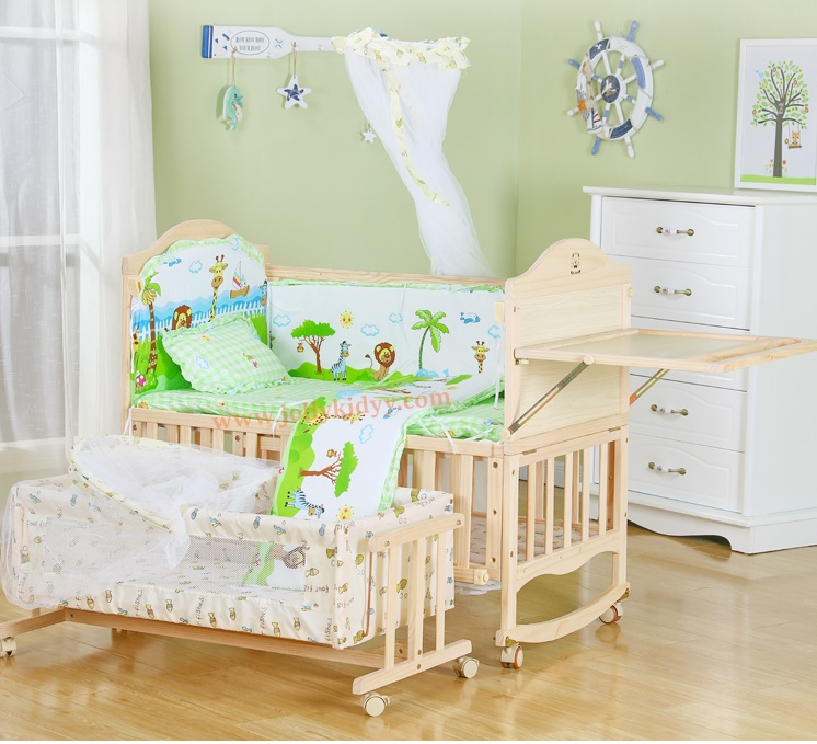 B10131 เตียงนอนไม้สำหรับเด็ก ครบชุดแถมเปลไกวเล็ก