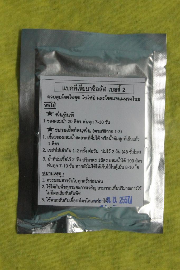 แบคทีเรียบาซิลลัสเบอร์ 2 ควบคุมโรคใบจุด ใบไหม้ และโรคแอนแทรคโนส (10 ซองขึ้นไป)