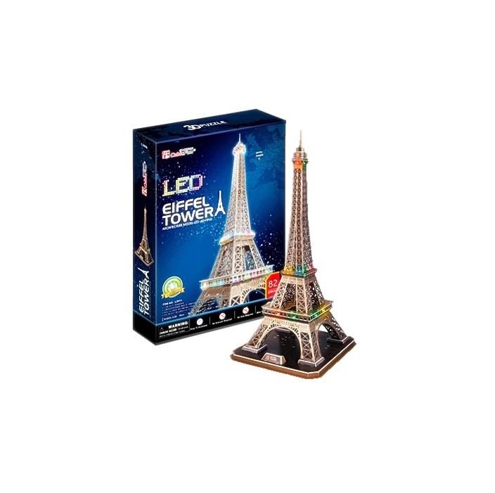 Model LED หอไอเฟล ประดับไฟจิ๊กซอว์โฟมกระดาษประกอบ ขนาด 20.5 X 23 X 47 cm.