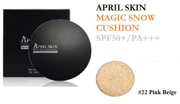 ++พร้อมส่ง++April Skin Magic Snow Cushion SPF50+/PA+++ 15g + 1 Puff No.22 Pink Beige เนื้อบางเบา ปกปิดดีเยี่ยม ผิวชุ่มชื้น คุมมัน ไม่ก่อเกิดสิว สีไม่ดรอป ขาวกระจ่างใสตลอดทั้งวัน