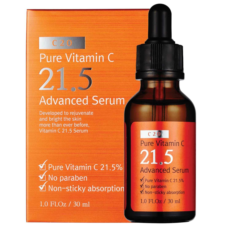 ++Pre Order++C20 Pure Vitamin C 21.5 Advanced Serum 30ml เซรั่มวิตามินซีเข้มข้น 21.5% ปรับสูตรใหม่ให้อ่อนโยนต่อผิว ช่วยให้ผิวขาว ใส ลบเลือนรอยแดง จุดด่างดำ ให้จางลงอย่างเห็นได้ชัด ภายใน 7 วัน