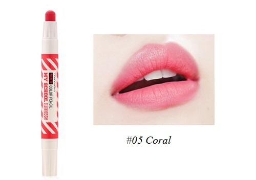 ++พร้อมส่ง++Tony Moly My School Looks Multi Color Pencil 1.4g สี 05 Coral ลิปดินสอ สีสวย หวาน น่ารัก ใช้ได้ทั้งริมฝีปากและแก้ม