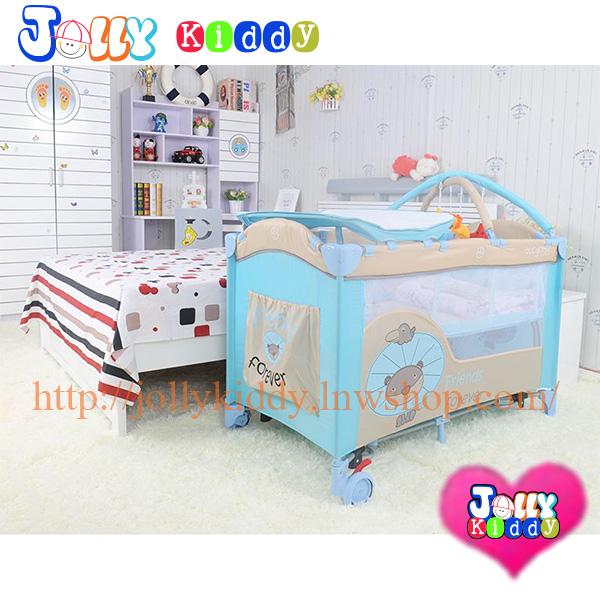 B10102 เตียงนอนเด็ก แบบน่ารัก สินค้าใหม่นำเข้าพร้อมชั้นวางที่เปลี่ยนผ้าอ้อม (A1สีฟ้า)