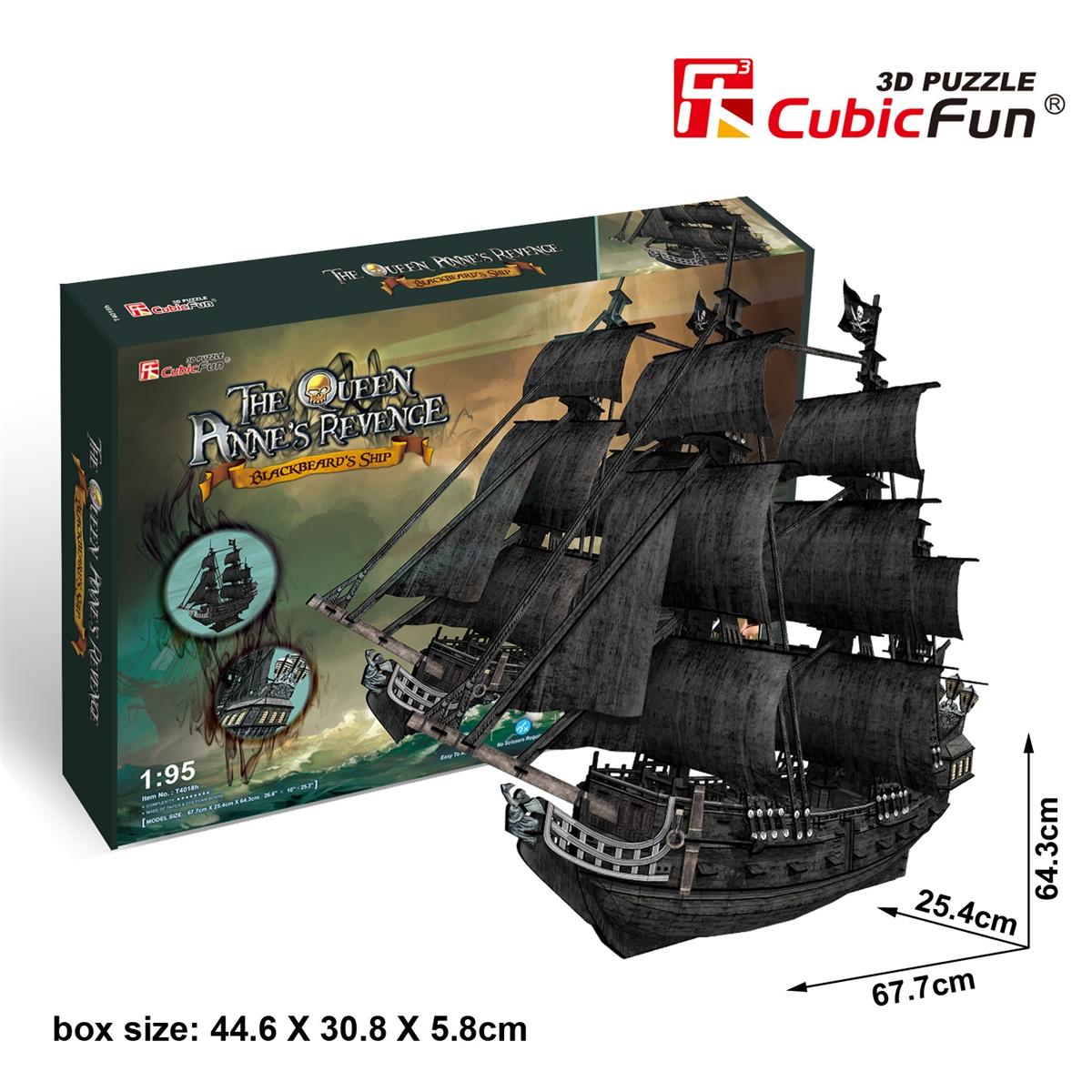 Queen Anne's Revenge (Large) CubicFun 3D Puzzle Total 308 Pieces Size 67.7*25.4*64.3 cm.