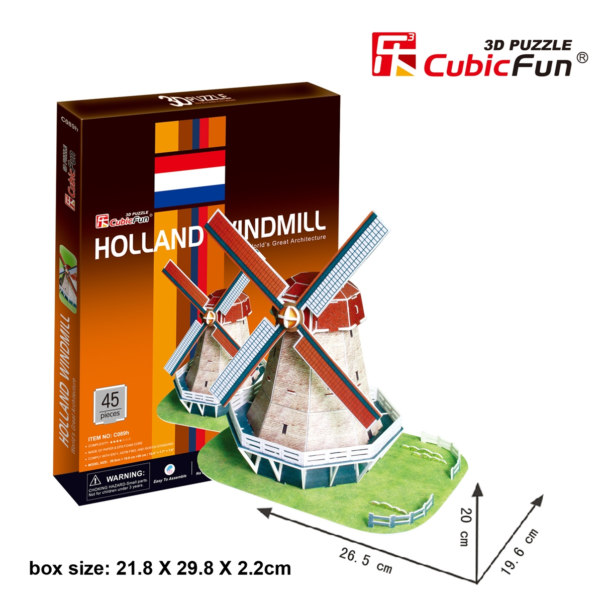 Holland Windmill กังหันลมวินด์มิลล์ CubicFun 3D Puzzle 53 Pieces Size 26.5*19.6*20 cm.