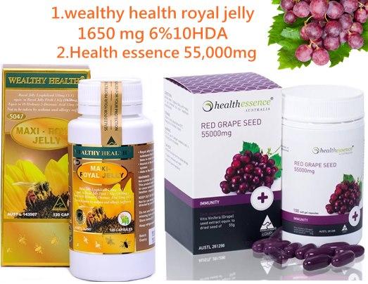 นมผึ้งแมกซี่wealthy health royal jelly 1650 mg 1ปุก+สารสกัดเมล็ดองุ่น Healthessence 55,000mg.1ปุก บำรุงผิวขาวใส ชะลอผิวแก่กว่าวัย ไม่อ้วน