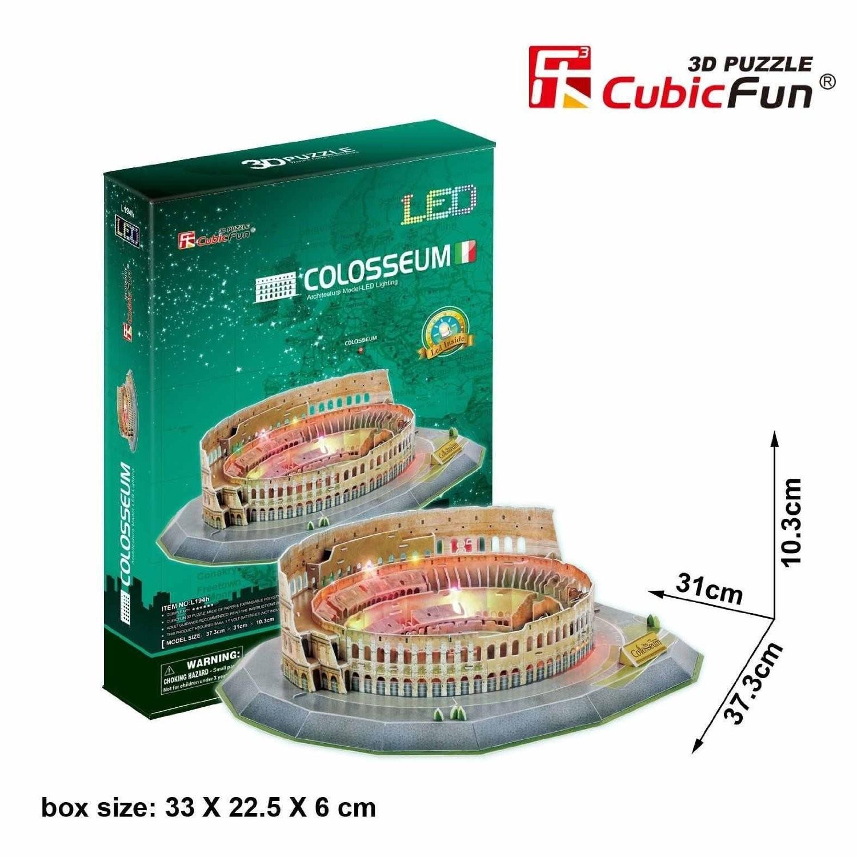 The Colosseum โคลอสเซียม LED Light 3D Puzzle Size 37.3*31*10.3 cm Total 185 pcs.