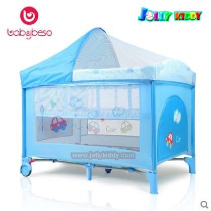 ฺB10103 เตียงplaypen สะดวกพับเก็บได้ สินค้าใหม่คุณภาพดี A2 สีฟ้า
