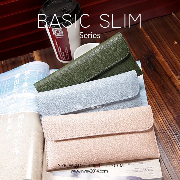 กระเป๋าสตางค์ผู้หญิง ใบยาว แบบบาง เรียบ รุ่น BASIC SLIM