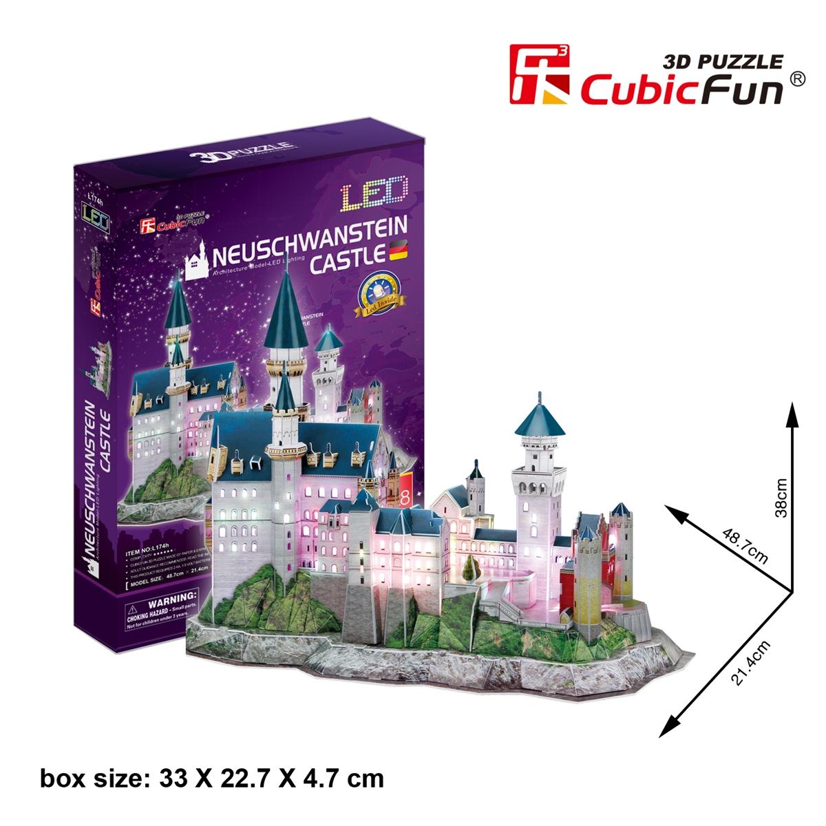 Neuschwanstein Castle ปราสาทนอยชวานชไตน์ Total 128 Pieces Size 21.4*48.7*38 cm. (LED)