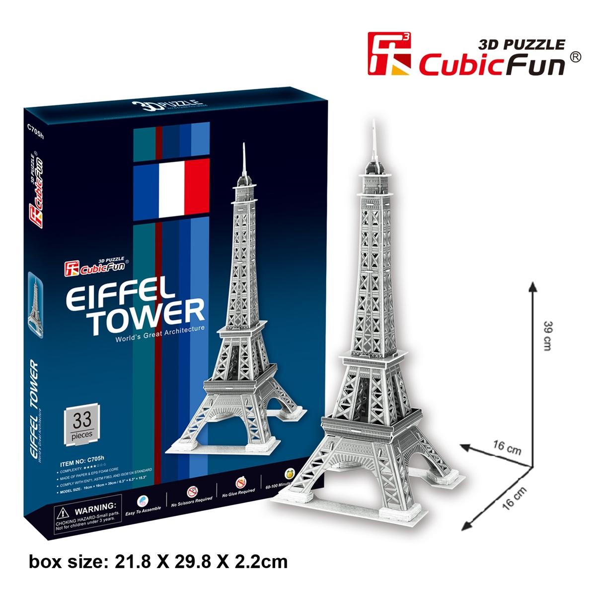 Eiffel Tower(France) หอไอเฟล Total: 33 pcs Model Size: 16*16*39 cm