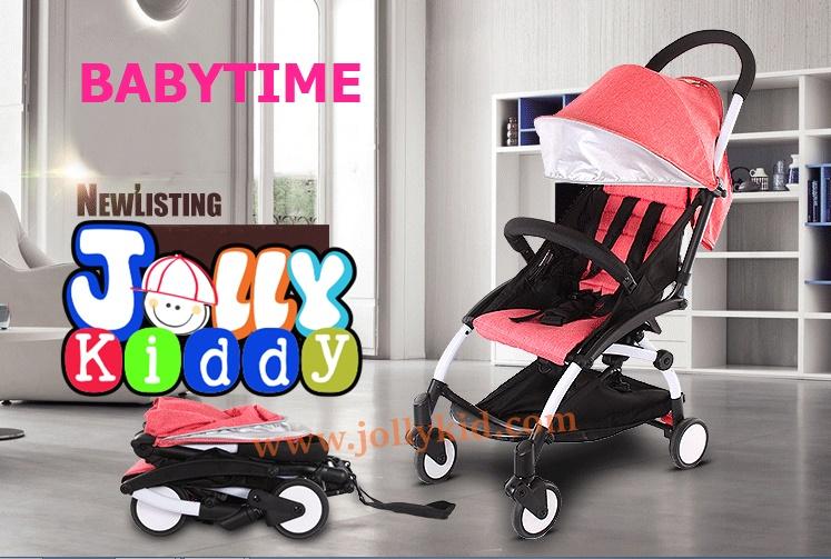 C10202 รถเข็นเด็ก Baby time แบบพกพาน้ำหนักเบา 5.8 kg โครงหลังคาดีไซน์ผ้าสีชมพู