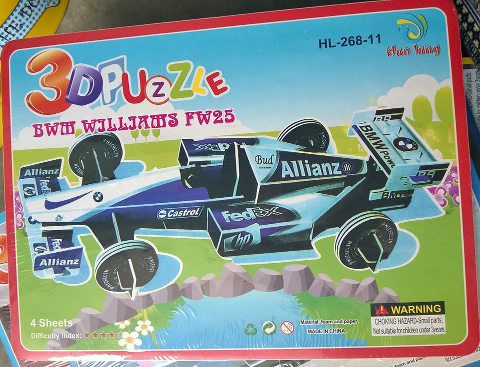 BMW FW25 ALLIANZ FED EX SUPER MODEL 3D PUZZLE รถแข่งสีฟ้า