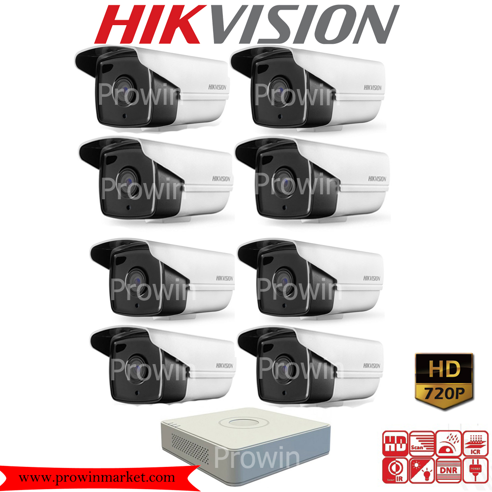 Hikvision (( Camera Set 8 )) HD720P (DS-2CE16C0T-IT3 x 8 , DS-7108HGHI-E1 x 1)
