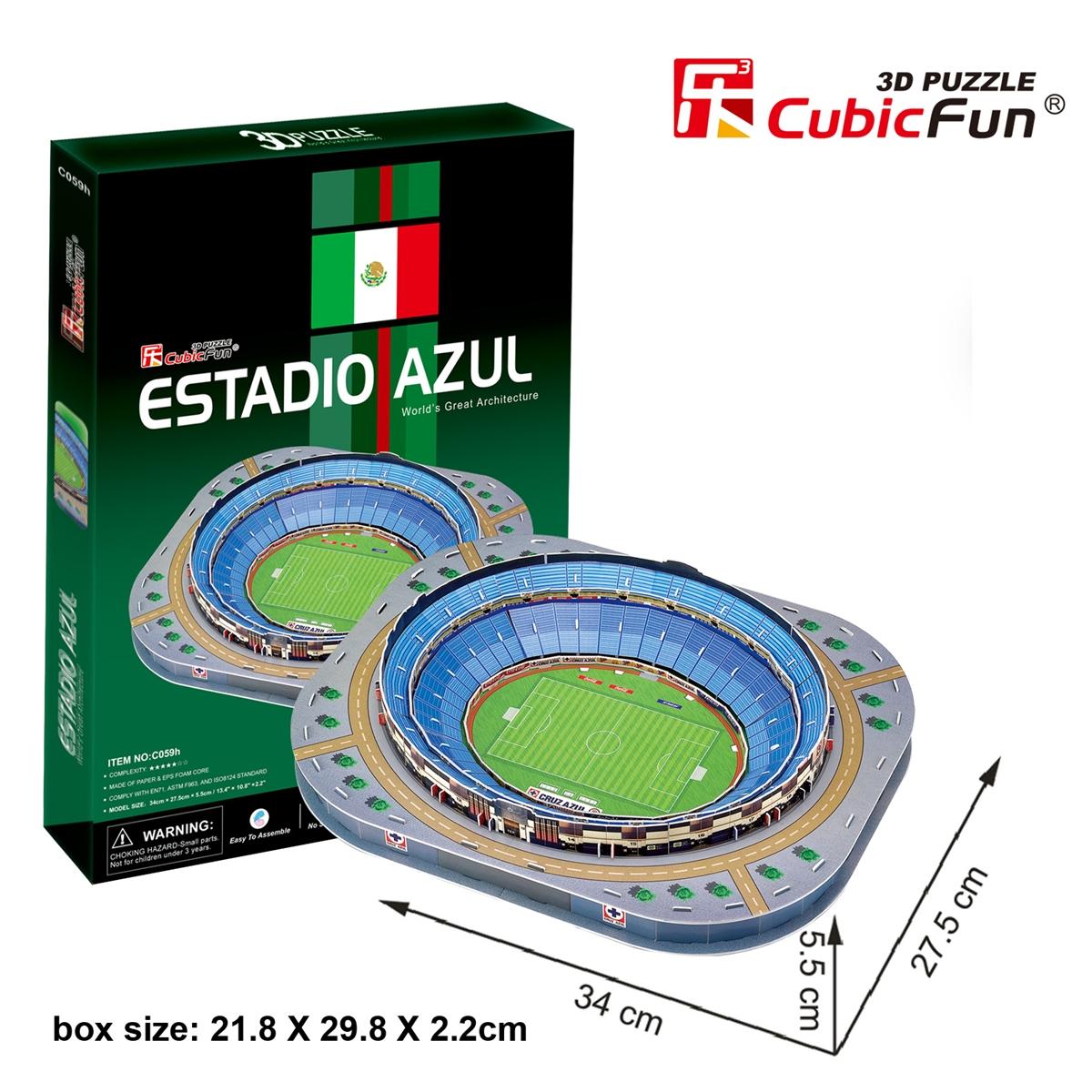 Cubic Fun 3D Paper Puzzle Mexico Stadiums Estadio Azul Model ฟุตบอลทีมชาติเม็กซิโก C059H 92pcs 34*27.5*5.5CM