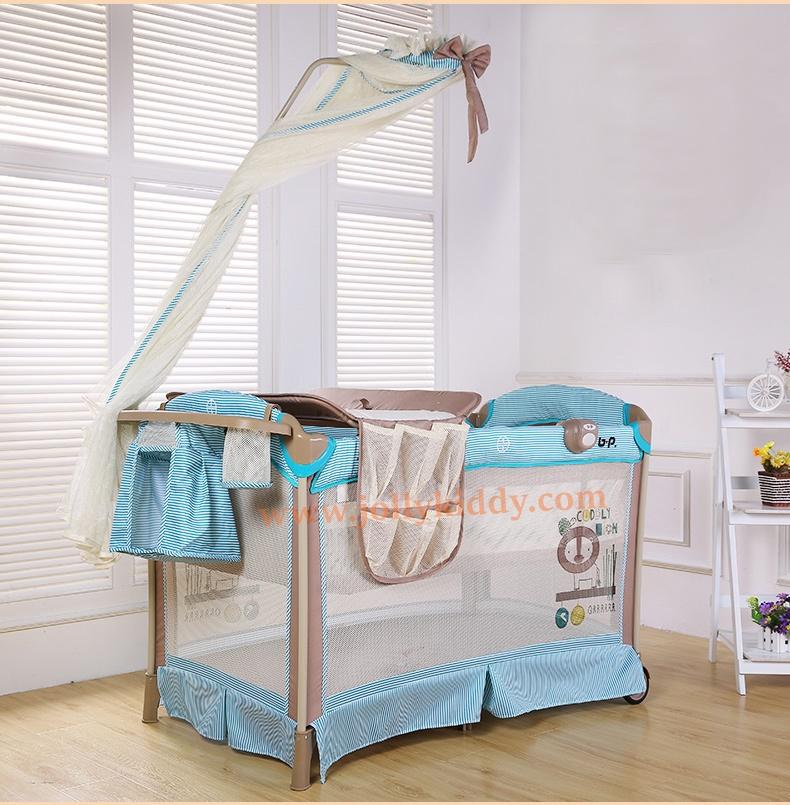 B10123 Playpen เตียงนอนเด็ก สินค้าใหม่นำเข้าพร้อมชั้นวางที่เปลี่ยนผ้าอ้อม (BP1สีชมพู)