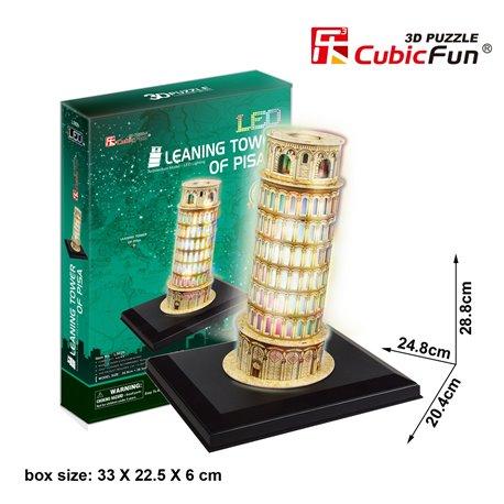 Jigsaw LED โมเดลประดับไฟ LEDจิ๊กซอว์โฟมกระดาษประกอบ รูปหอเอนปิซ่า ประเทศอิตาลี่ 3มิติ ขนาด 24.8 x 20.4 x 28.8 cm
