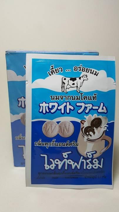 นมอัดเม็ด(ไวท์ฟาร์ม) รสคุกกี้แอนด์ครีม (กล่อง 12 ซอง)