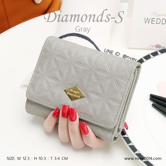 กระเป๋าสตางค์ผู้หญิง ใบสั้น รุ่น DIAMONDS-S สีเทา