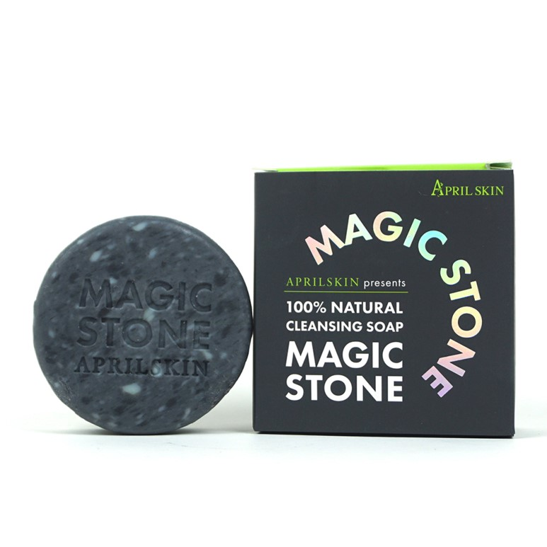 ++พร้อมส่ง++April Skin Magic Stone 100% Natural Cleansing Soap 100g #Black