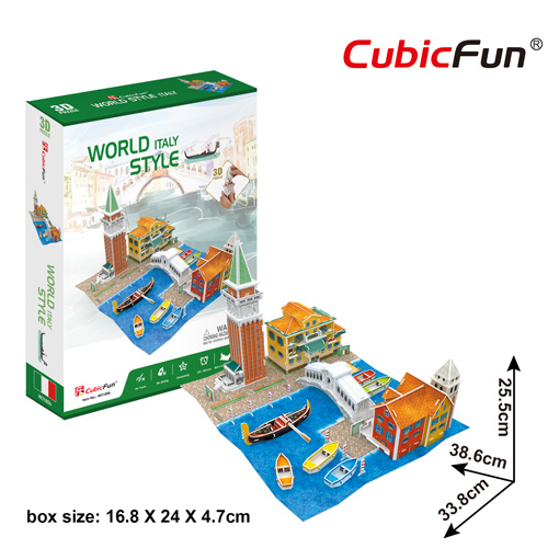 World Style Series 3D Italy Size: 28.6 x 31.7 x 25 cm จำนวน 131 ชิ้น Cubic Fun Thailand 3D Shop Puzzle
