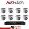 Hikvision (( Camera Set 8 )) DS-2CE56C0T-IR x 8 , DS-7208HQHI-F2/N x 1