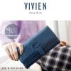 กระเป๋าสตางค์ผู้หญิง รุ่น VIVIEN สีกรมท่า ใบยาว