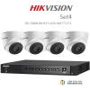 Hikvision 3MP (ชุดสุดโปรโมชั่นกล้อง 4 ตัว ) (DS-7204HUHI-F1 X1+DS-56F7T-IT1 X 4)