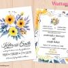 การ์ดแต่งงาน การ์ดเชิญงานแต่งงาน ลายดอกไม้ D90091