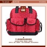 TP12058 กระเป๋าเก็บสัมภาระคุณแม่ ใช้ได้ทั้งเป็นเเบบหิ้วและสะพายเป้ ลายจุด สีแดง