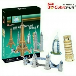 MINI Series1 ARCHITECTURE SET, 5 SMALL BUILDINGS/MONUMENTS IN BOX