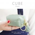 กระเป๋าสตางค์ ใส่เหรียญ รุ่น CUBE สีเขียว