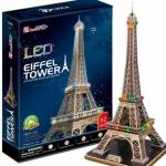 Eiffel Tower หอไอเฟล โมเดลประกอบมีไฟ LED 85 pcs. Size 39*36*78 cm.