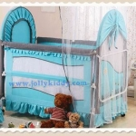 TB 12101 เตียงนอนเด็ก ยุโรปเปี้ยนสไตล์ สีฟ้า TB1